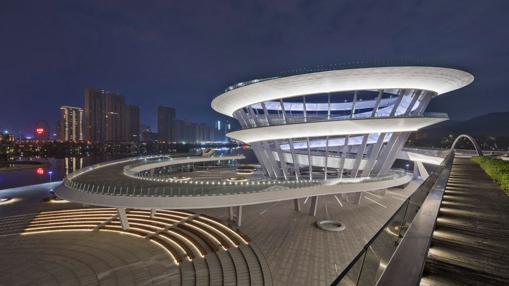 Meixi Urban Helix in China at night which features many of the lighting designs of the OVI team.