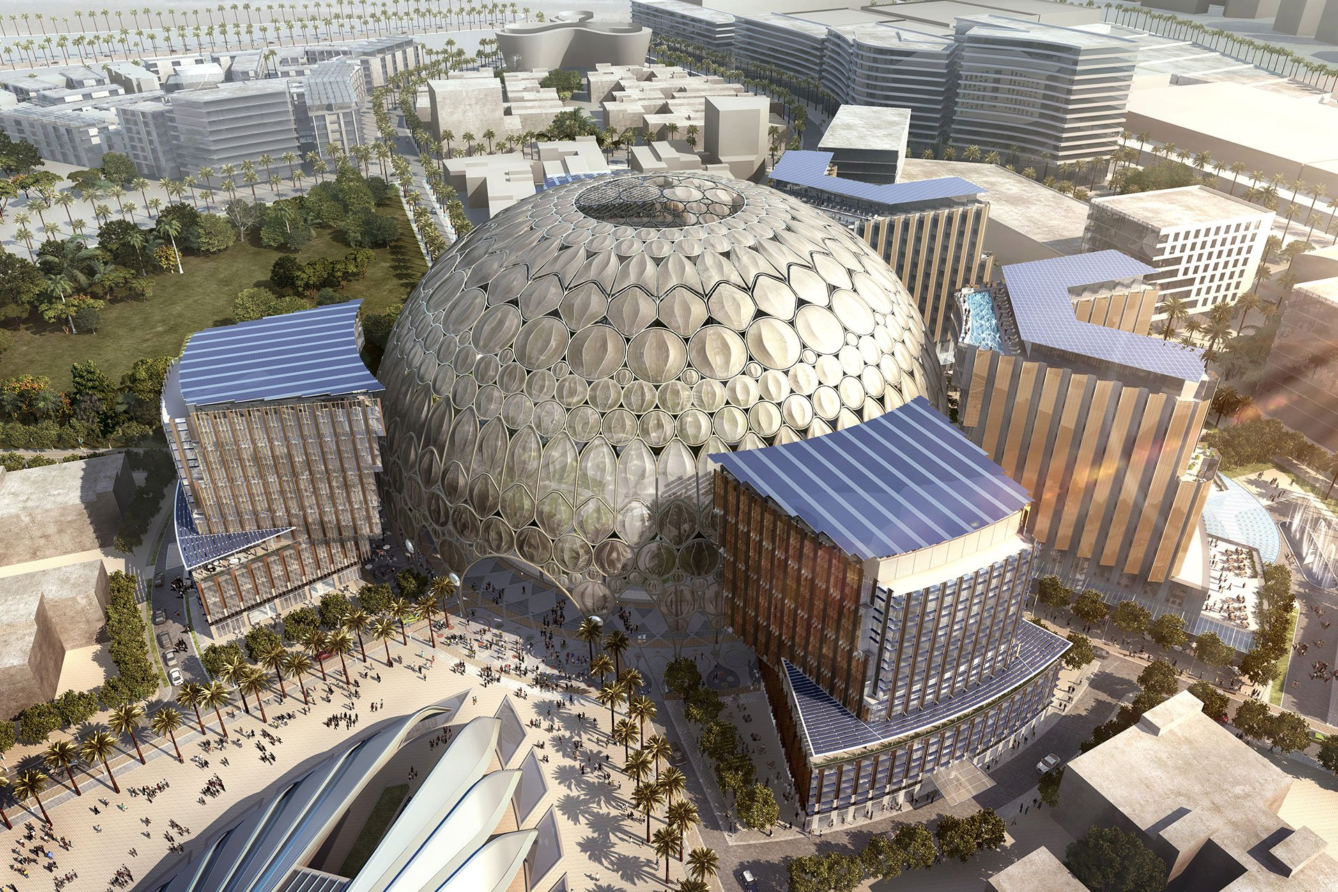 WORLD EXPO DUBAI – AL WASL PLAZA aerial day