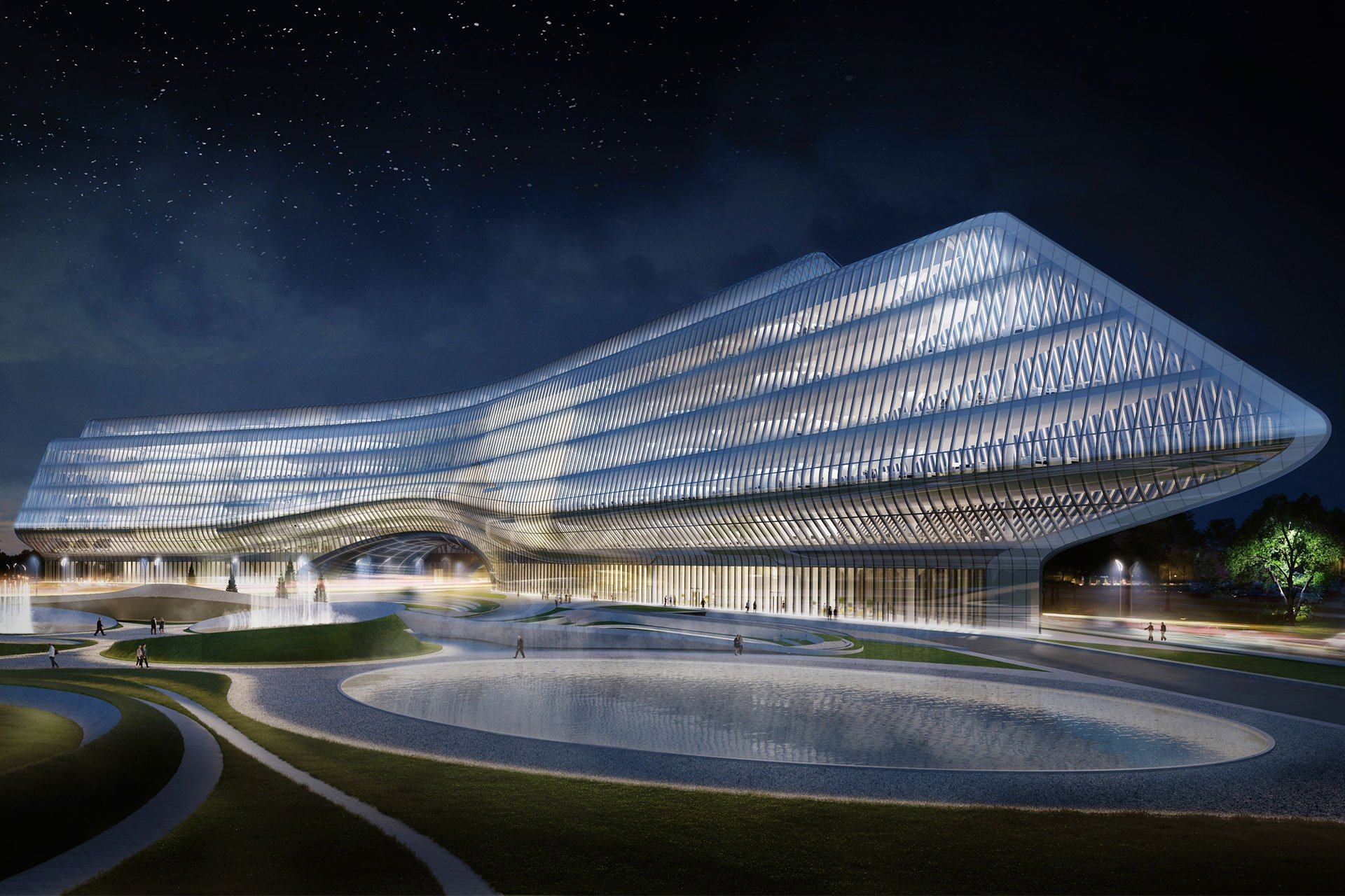 Sberbank Technopark building exterior architectural lighting design OVI Chinese