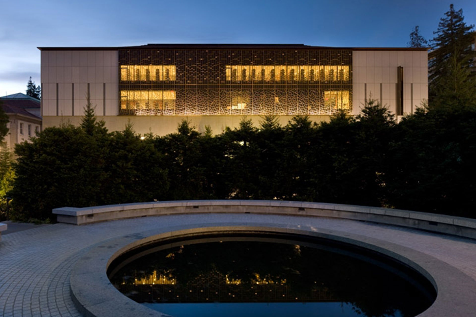 East Asian Library Exterior architectural design lighting OVI Chinese