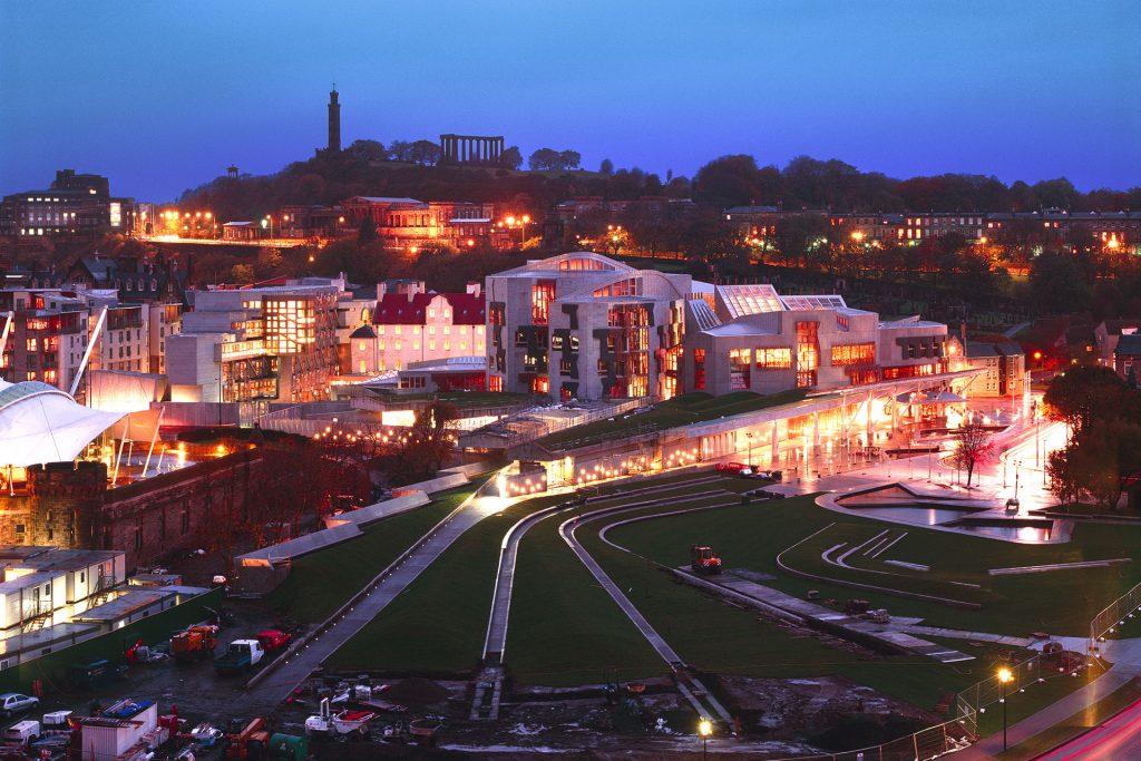 Scottish Parliament at night featuring the lighting design work of OVI