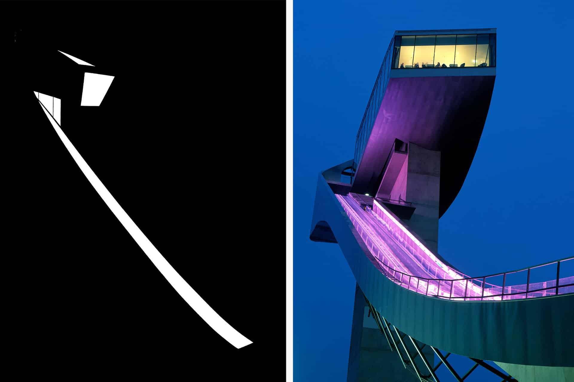 Bergisel Skijump architectural design lighting Office For Visual Interaction