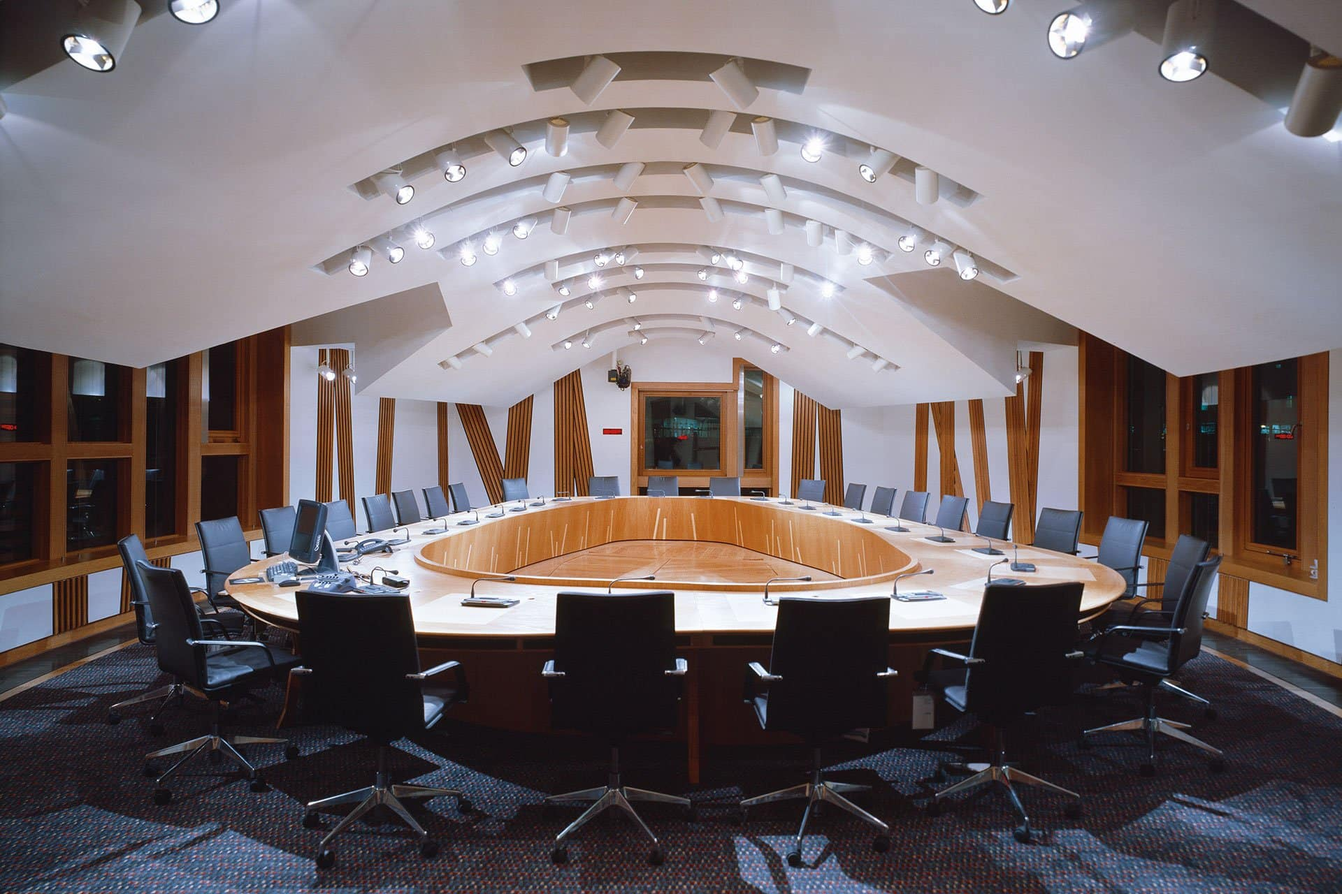 Scottish Parliament conference room architectural design lighting Office For Visual Interaction