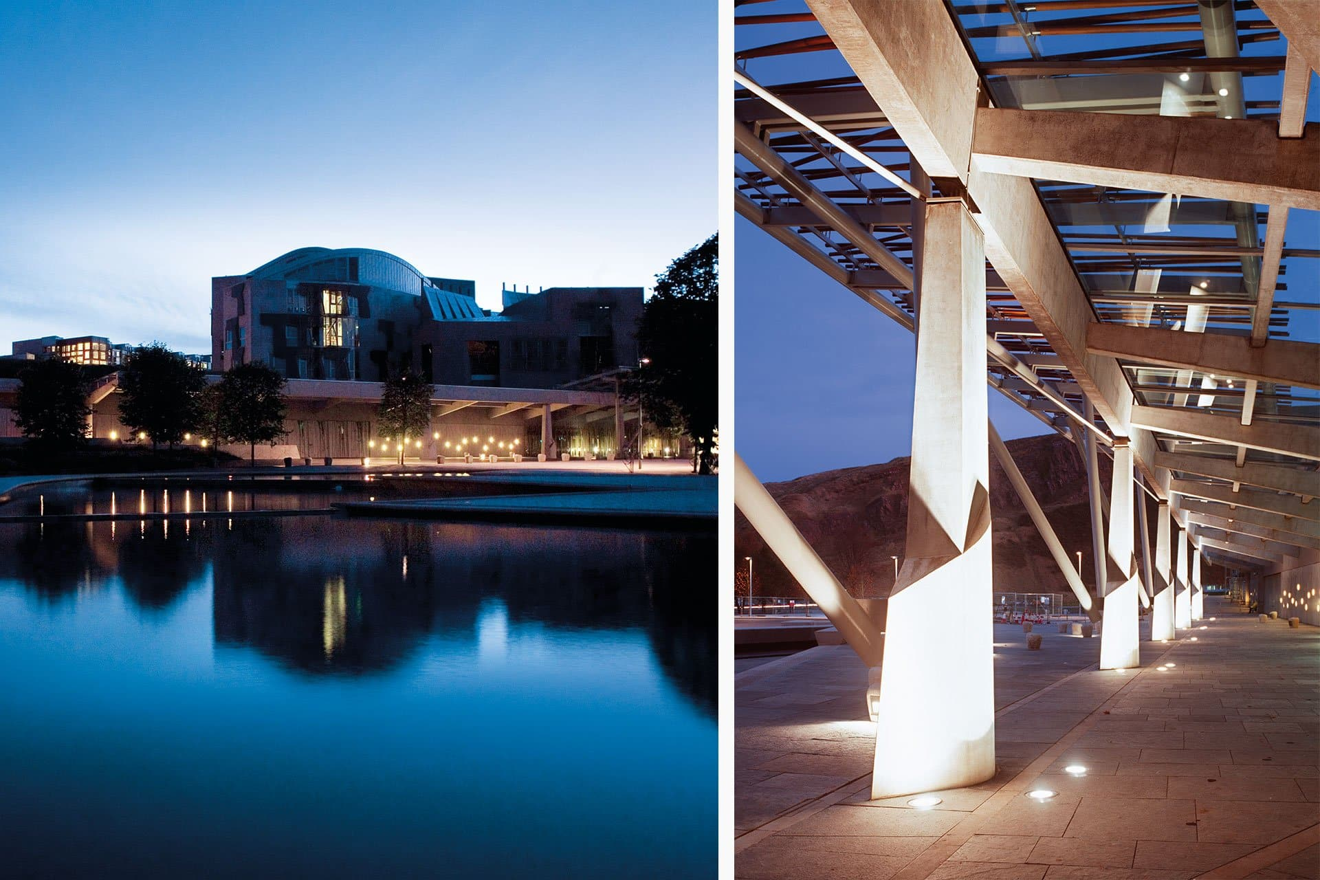 Scottish Parliament exterior night architectural design lighting Office For Visual Interaction