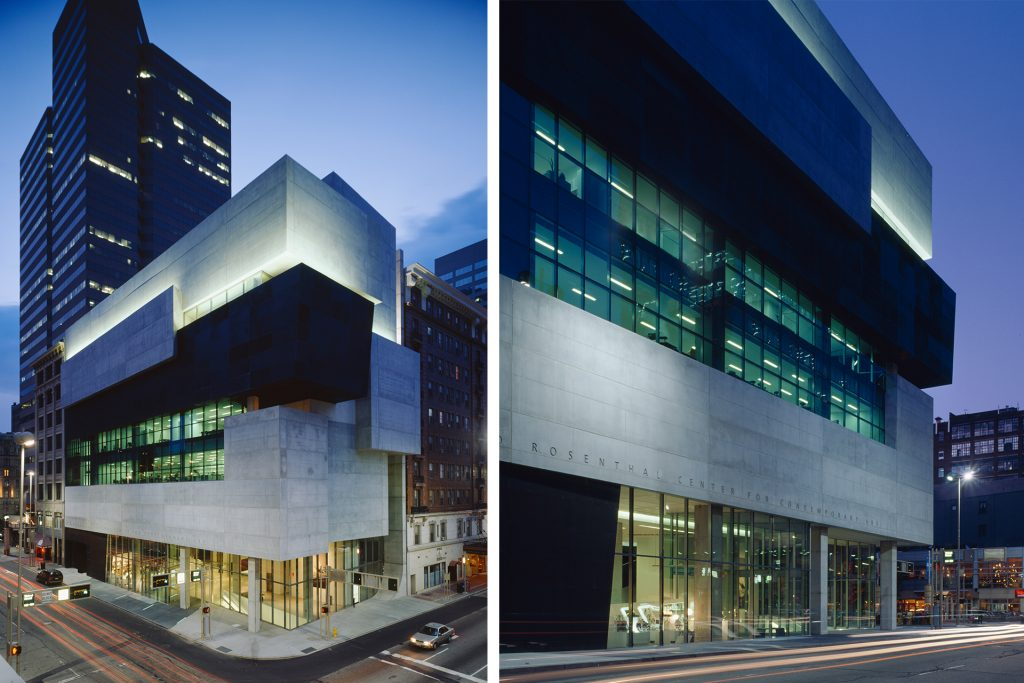 Lois and Richard Rosenthal Center for Contemporary Art exterior building featuring the work of OVI