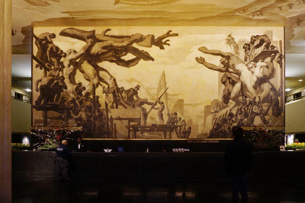 30 Rockefeller Center mural wall lighting
