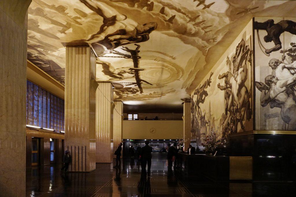 30 Rockefeller Center mural ceiling lighting