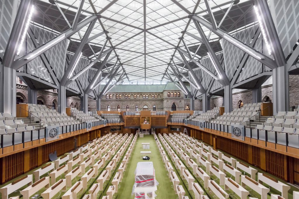 Canadian Parliament West Block chamber architectural lighting design OVI